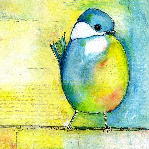 Items similar to Fine art print of my original painting blue bird on a wire 13x19 by Diane Ackers on Etsy