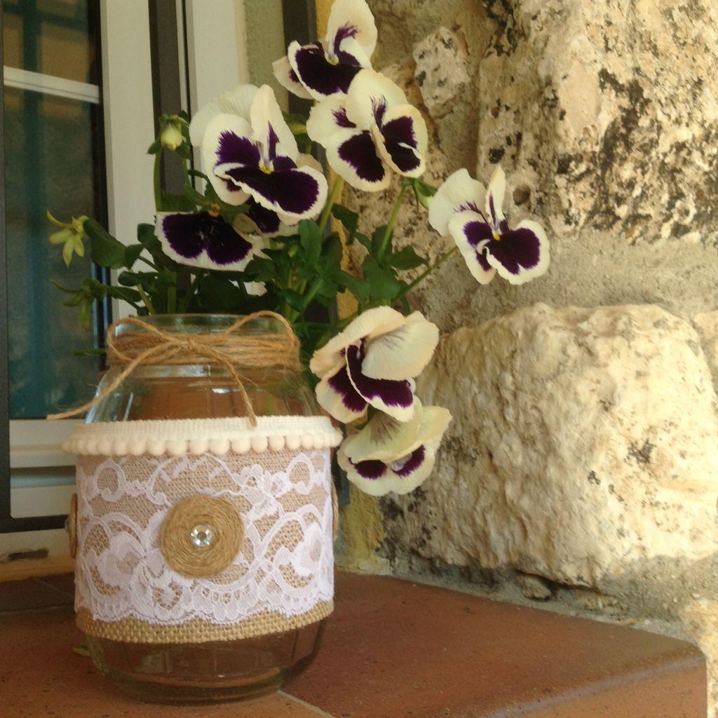 Tarro- florero reciclado