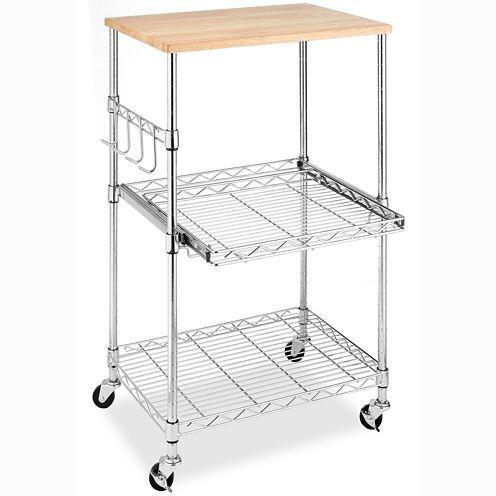 Kitchen Appliance Cart Microwave Carts With Storage Wood And Chrome Rolling  Util