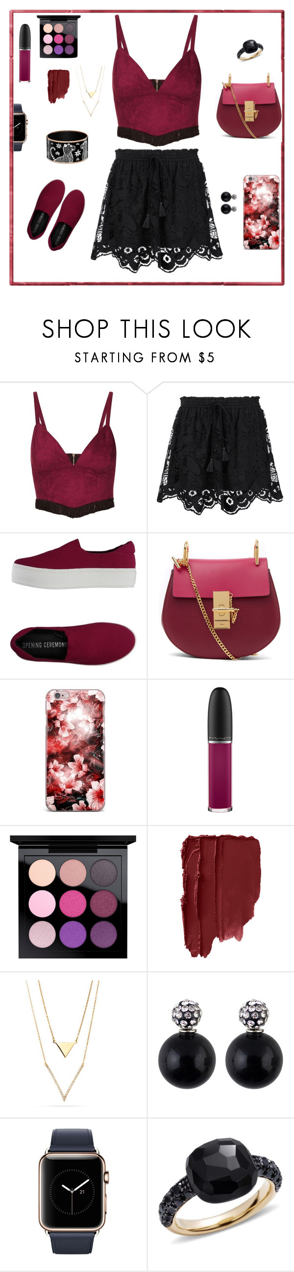 """""""(R)ed"""" by sanidaskrebo ❤ liked on Polyvore featuring Topshop, Chloé, Opening Ceremony, MAC Cosmetics and Pomellato"""