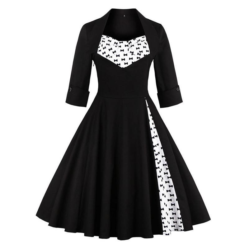 Bows Pattern Vintage Dress