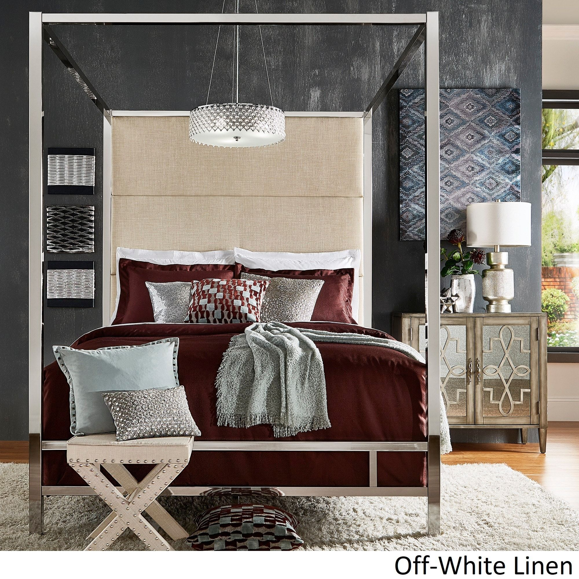 Evie Chrome Metal Canopy Bed with Linen Panel Headboard by iNSPIRE Q Bold  (Full Size - Dark Grey Linen), Black