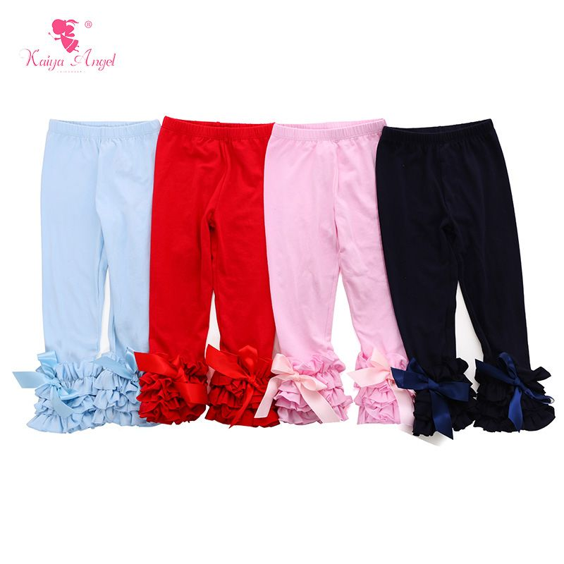 1204ef073a20a Find More Pants Information about Spring Girls Leggings With Ribbons Double Ruffles  Icing Leggings Wholesale Kids