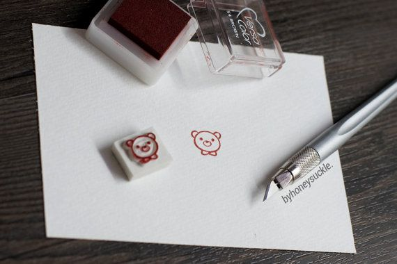 bear rubber stamp tiny bear stamp mini stamp hand by byhoneysuckle, $5.00