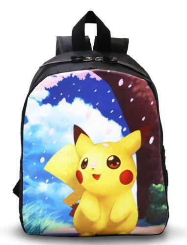 Pokemon Go Pikachu Printed Canvas Backpack For Boys Girls Kids Toddler School  Bag Cartoon Travel Rucksack b4fd62a50e