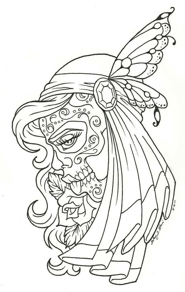 Day Of The Dead Coloring Pages Free