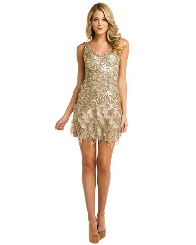 5edd3d574c Sue Wong Beige Beaded Feather Bottom Dress