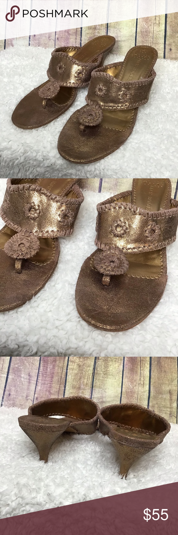 Jack Rogers Maggie Metallic Kitten Heel Sandal With Images Kitten Heel Sandals Sandals Heels Kitten Heels