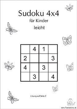 kinder-sudoku 4x4 - leicht | sudoku kinder, kreuzworträtsel für kinder, sudoku