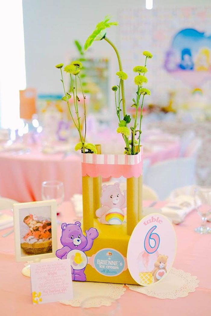 Table Centerpieces From A Care Bears Themed Birthday Party Via