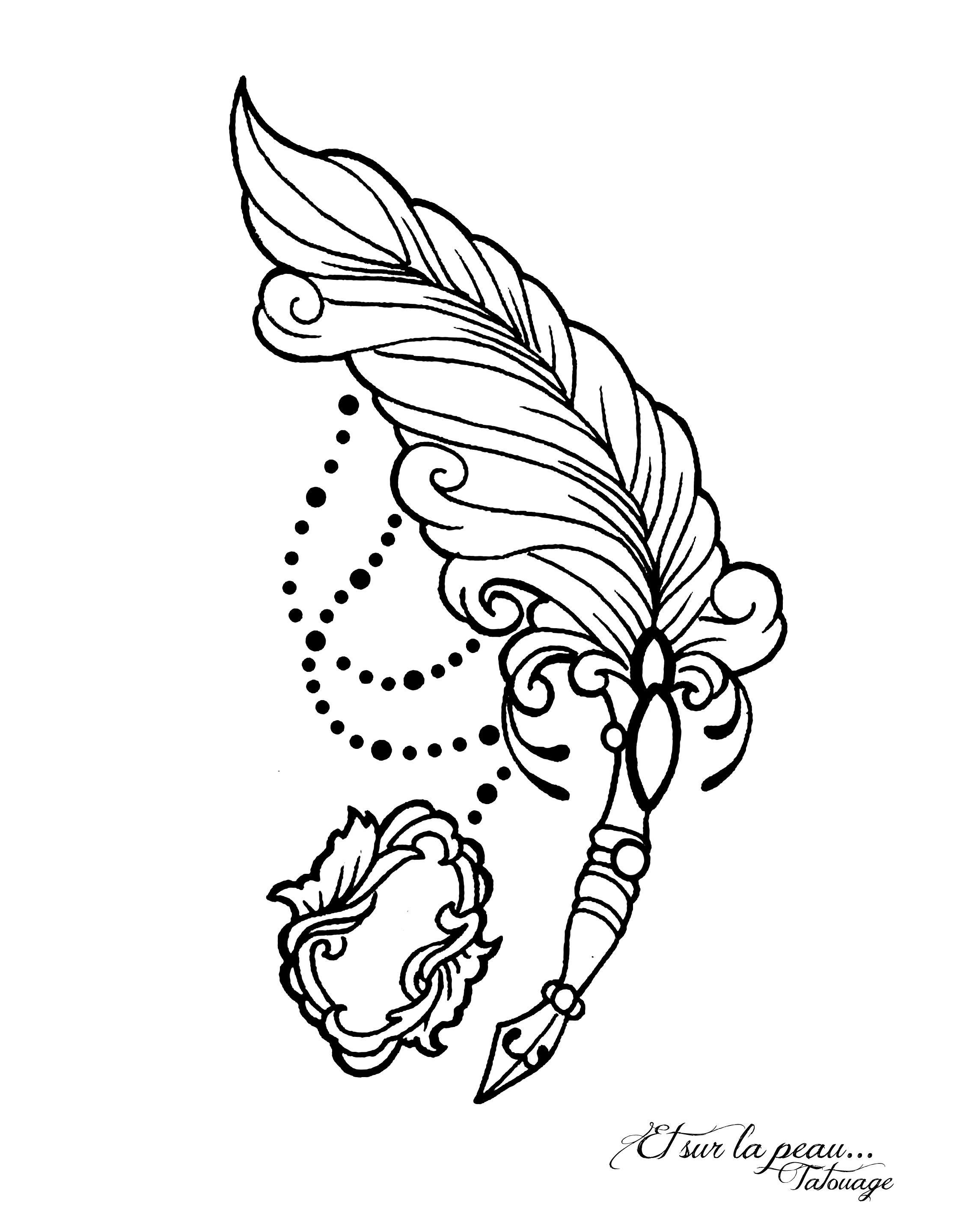 plume bijoux, porte plume, médaillon, modèle pour tatouage ...