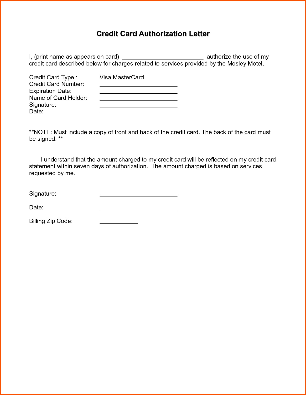 Vehicle Authorization Form Sample Letter Survey Template Act