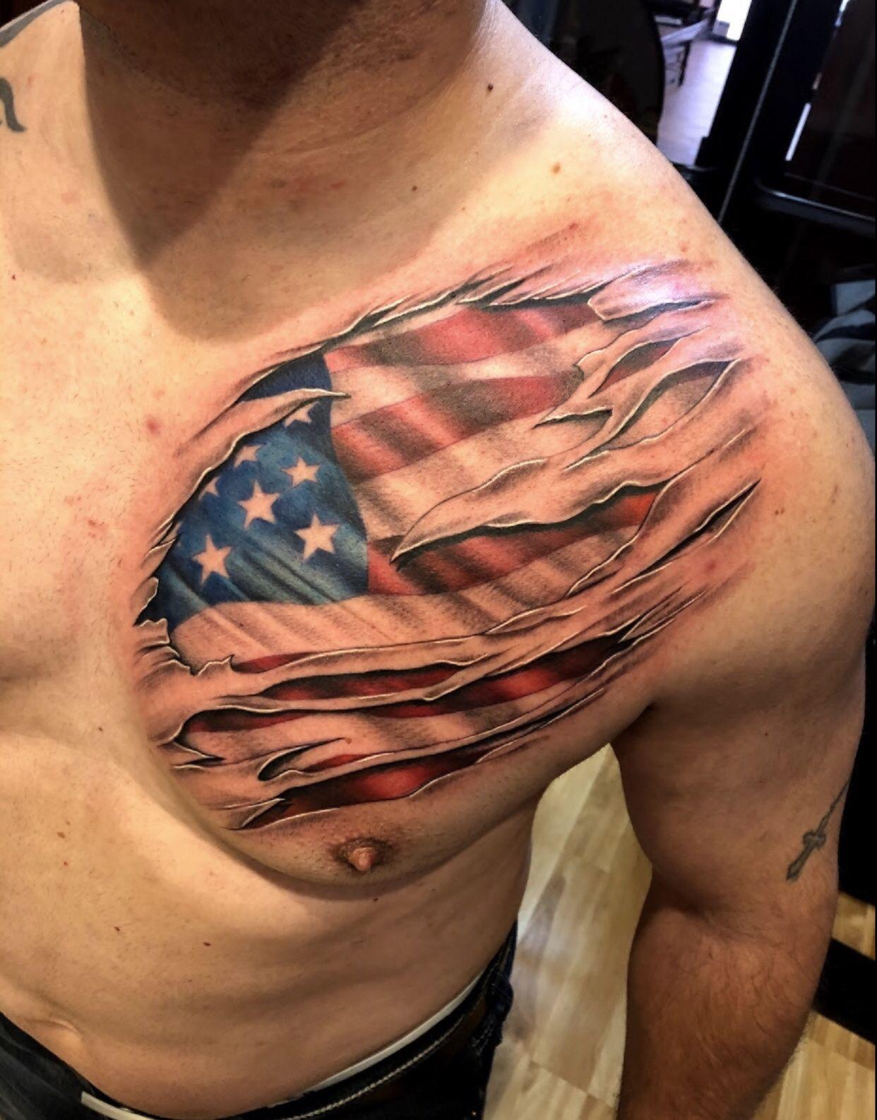 American Flag Tattoo Ripped Skin Tattoo Chest Tattoo Men Skin Tear Tattoo