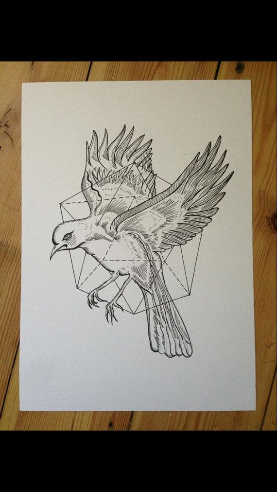 Abstract Geometric Bird Ink Drawing Woodcut Illustration Tattoo Idea A4. I accept commissions.