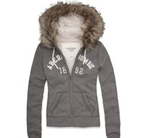 Abercrombie And Fitch Michelle Hoodie Gray Medium With Fur