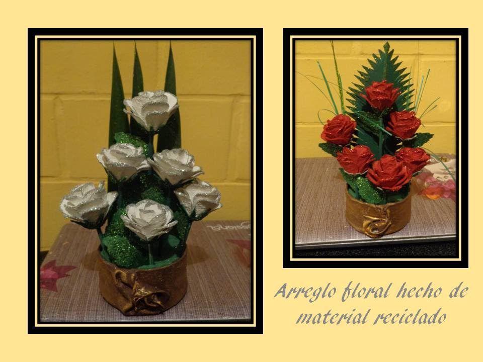 arreglo floral material reciclado ms