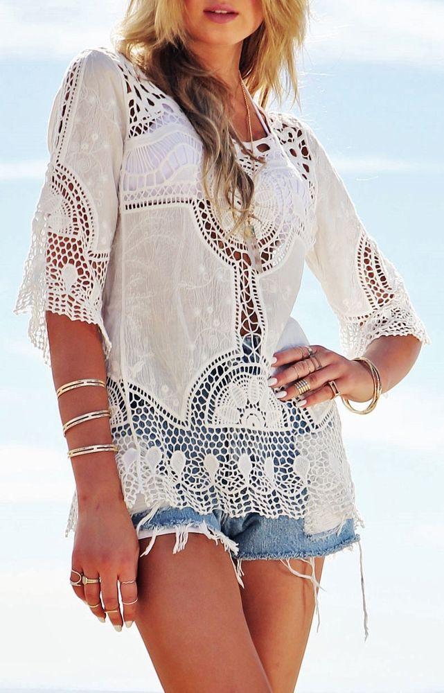 Details zu damen bluse tunika oberteil boho ethno hippie - Hippie bluse damen ...