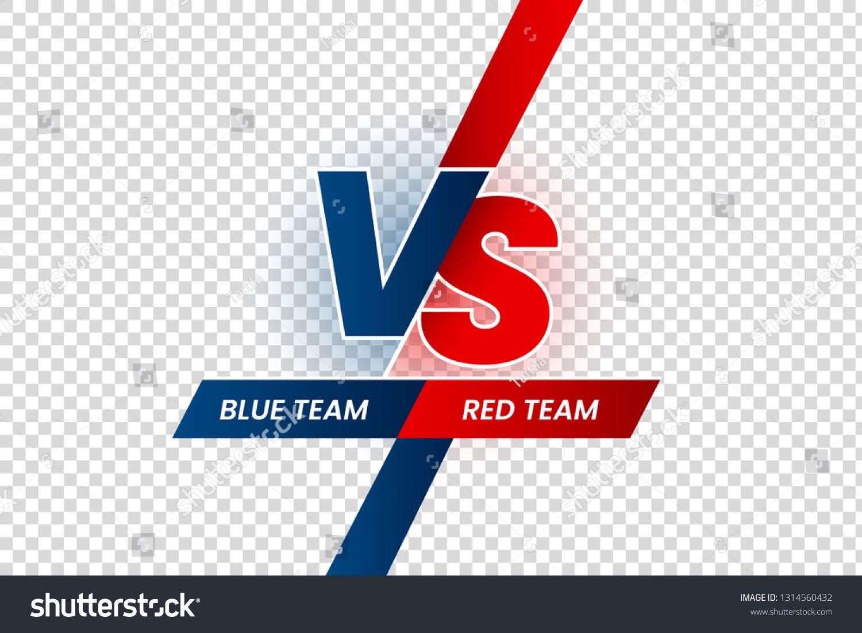 Versus Duel Headline Battle Red Vs Blue Team Frame Game Match