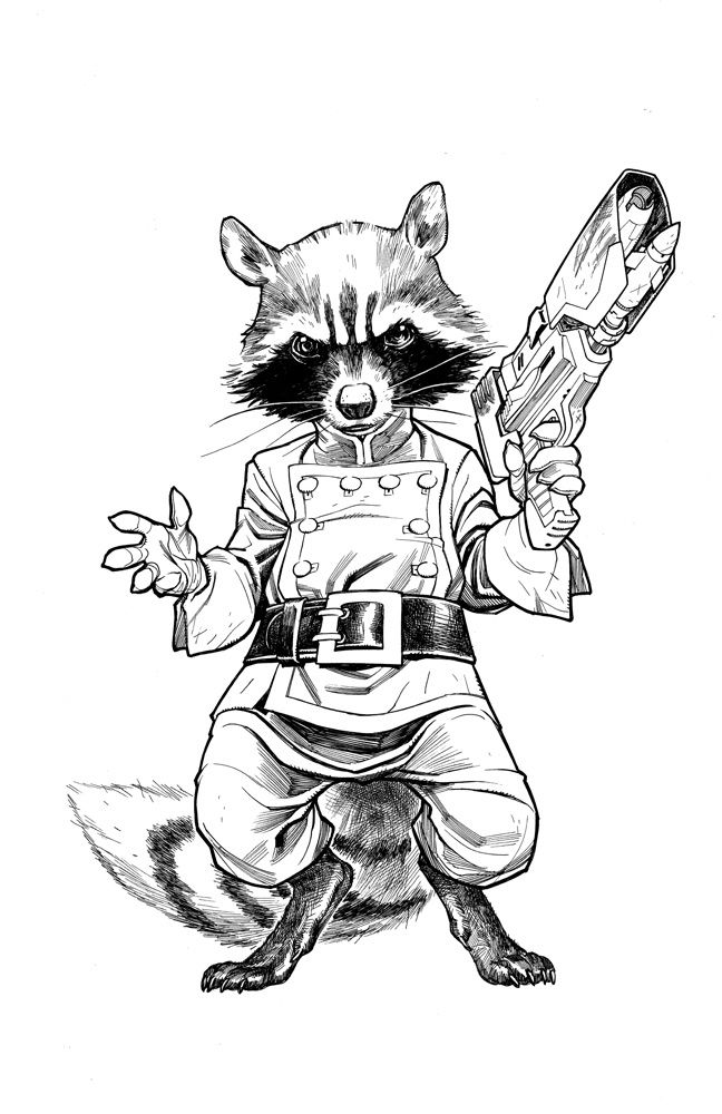 Rocket Raccoon Bw By Stephaneroux On Deviantart Marvel Drawings Superhero Art Hulk Art
