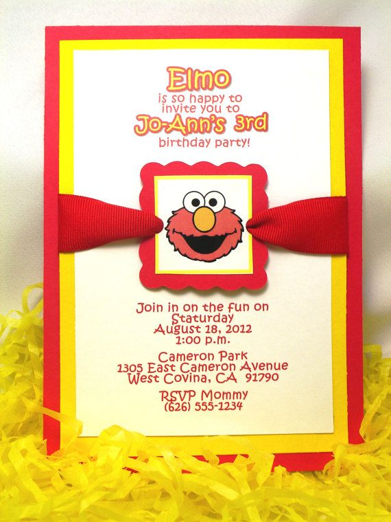 Elmo Invitations Handmade Triple Layer Set Of 10 By AdorableTree 3500 Invites