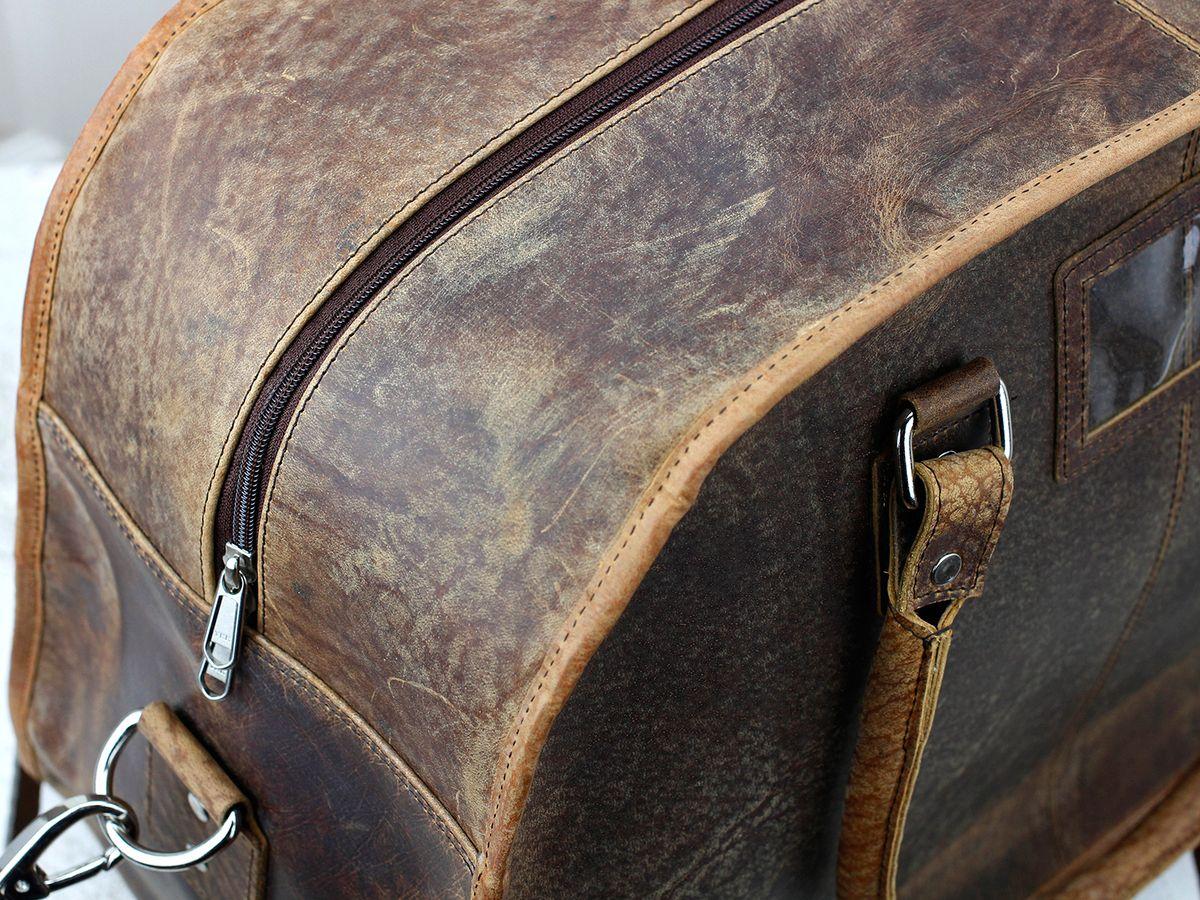 d706bc60c198 Large Vintage Leather Travel Holdall Weekender Bag