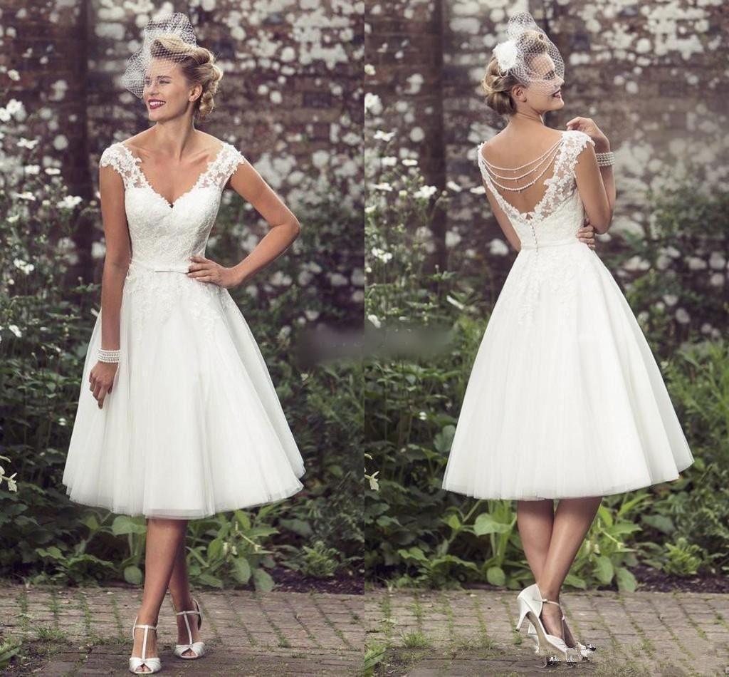 Vintage short wedding dress tea length white ivory bridal gown size