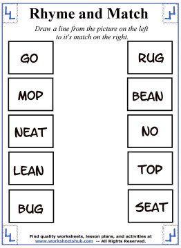 Rhyming Words Worksheet 4 | learning n teaching | Pinterest ...