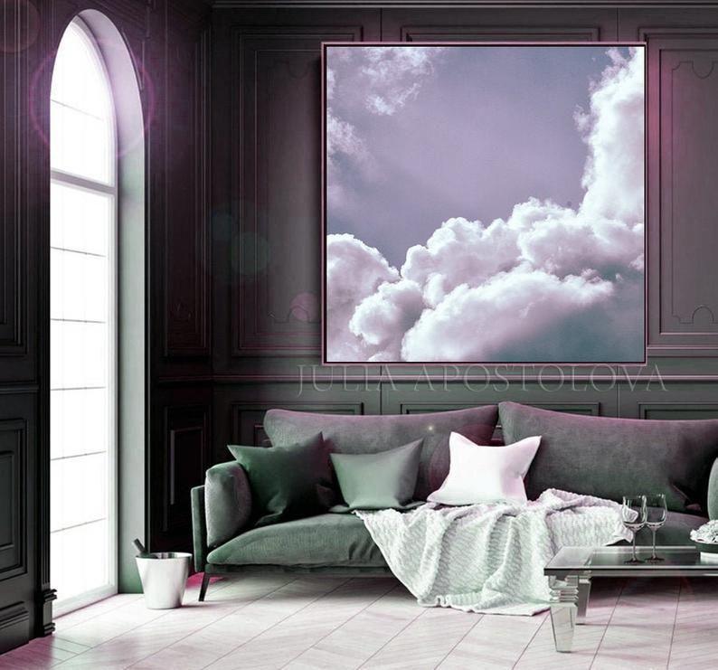 Lilac Clouds Purple Sky Art Cloud Painting Romantic Wall Art Etsy Sky Art Romantic Wall Art Cloud Canvas