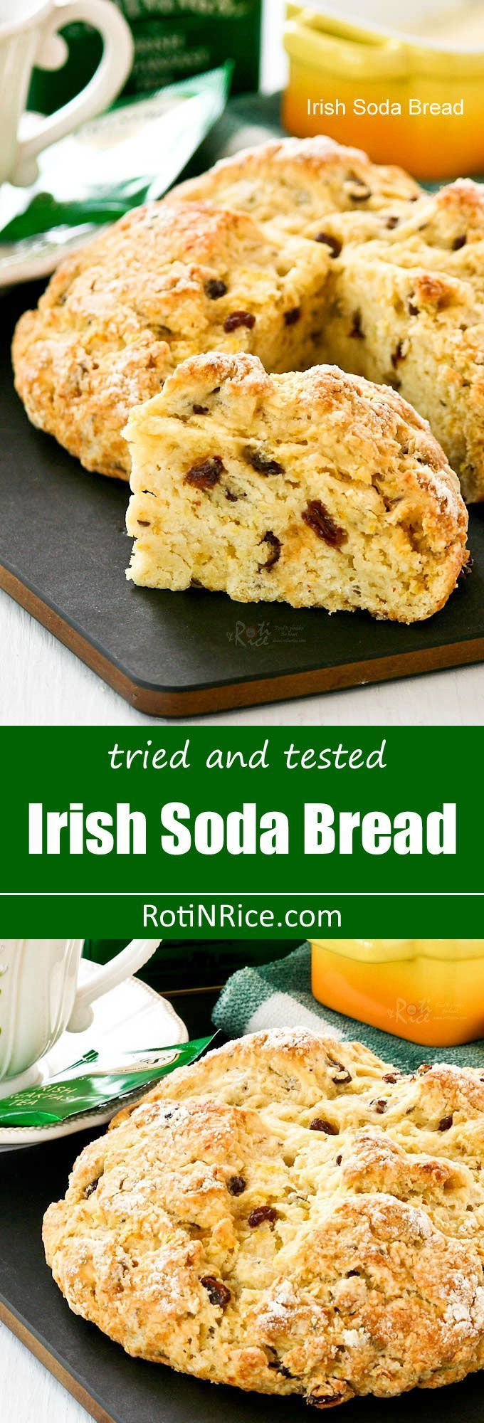 Tried and tested easy to prepare Irish Soda Bread flavored with caraway seeds, orange zest, and raisins. Delicious served with corned beef and cabbage. | http://RotiNRice.com