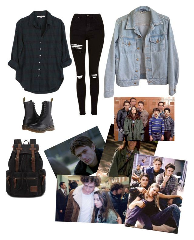 """""""Freaks and Geeks"""" by kellerina25 ❤ liked on Polyvore featuring Xirena, Topshop, Dr. Martens, American Apparel and Vanity Fair"""