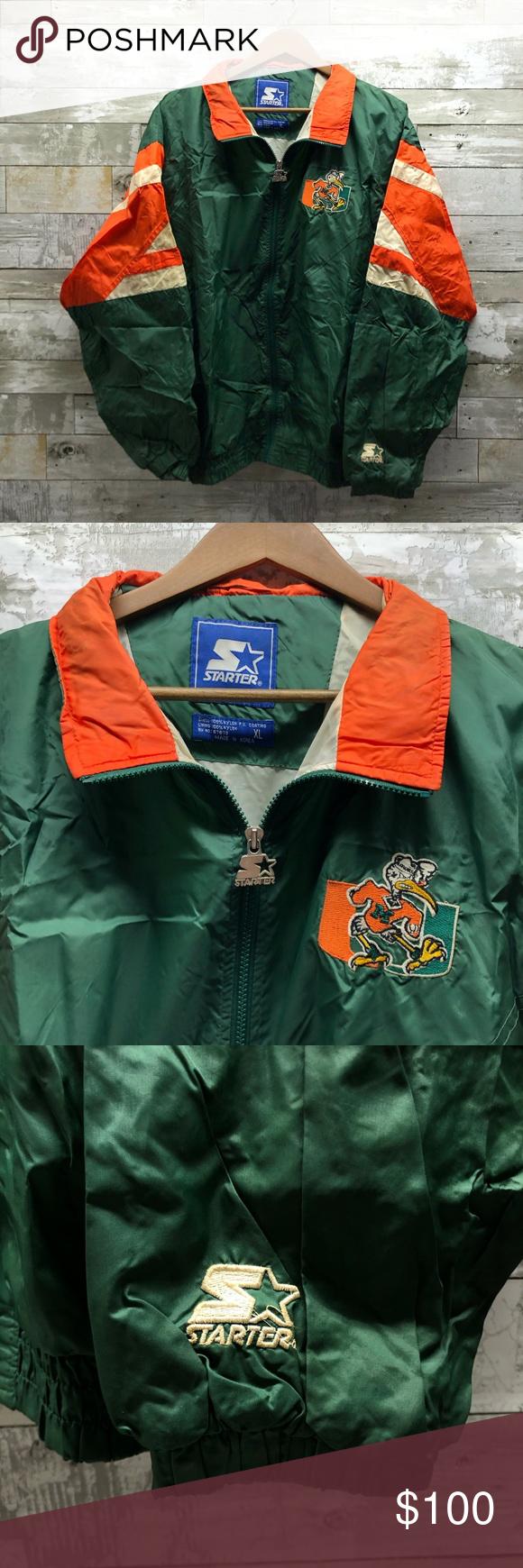 Vintage Miami Hurricane Starter Full Zip Up Jacket In 2020 Jackets Zip Ups Miami Hurricanes