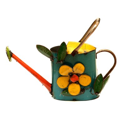 Rustic Arrow Small Watering Can Statue