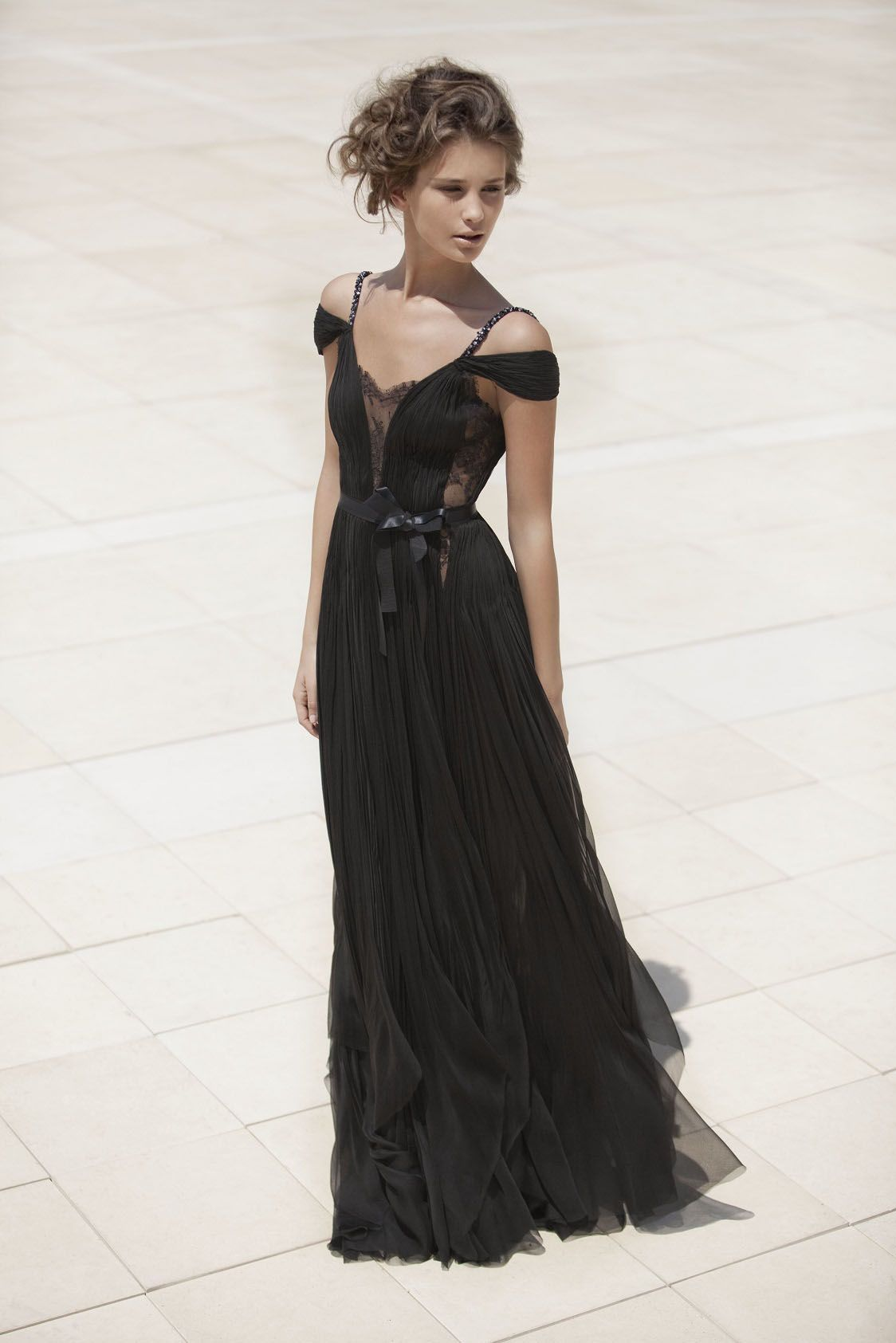 84bb53a2d148 Sexy draped and hand-pleated a-line floor length long black silk chiffon  evening dress with delicate lace. Embroidered straps on the shoulder.