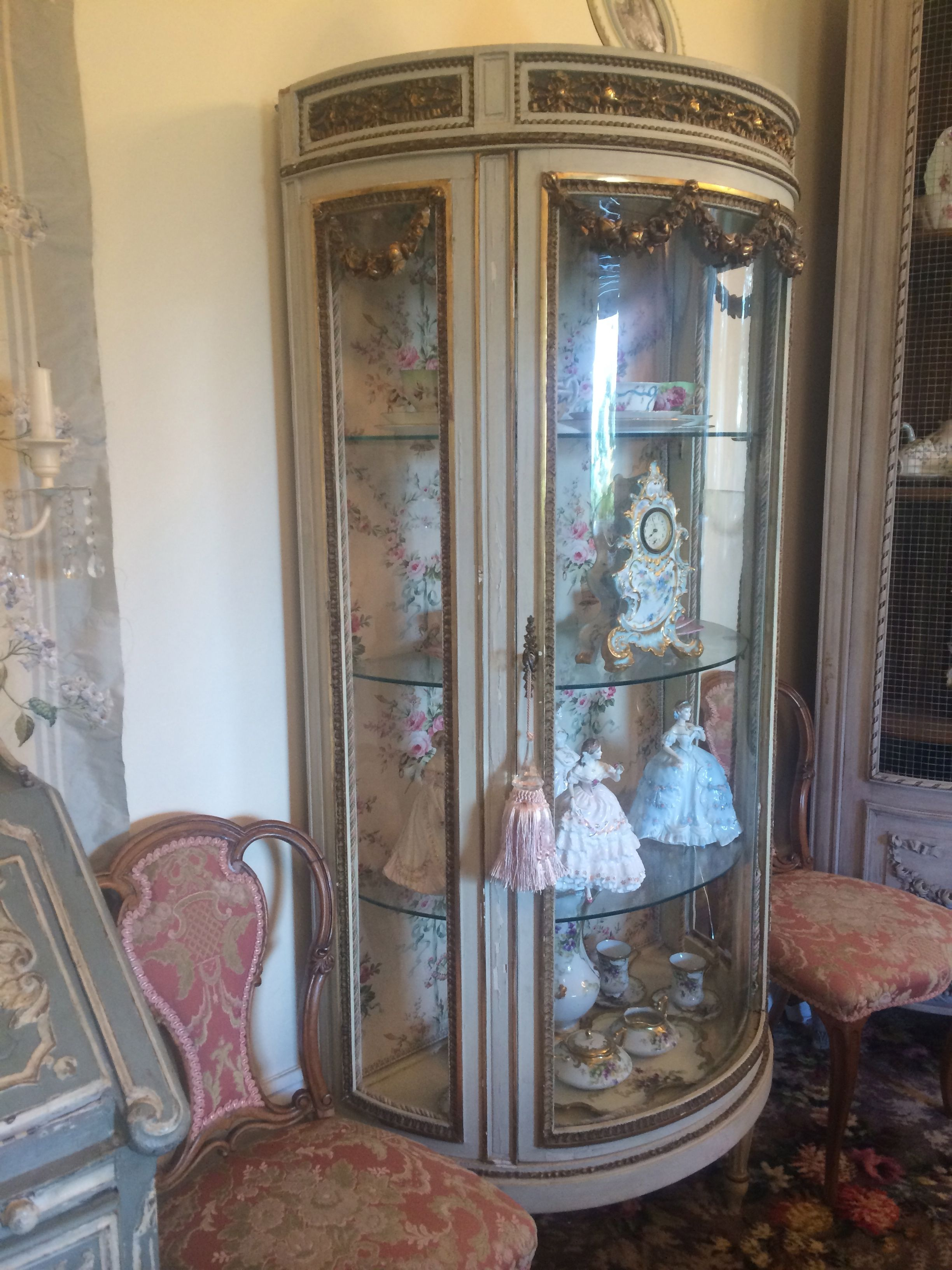 Antique vitrine with 18th century chairs. Antique vitrine with 18th century chairs   Antique French Vitrine