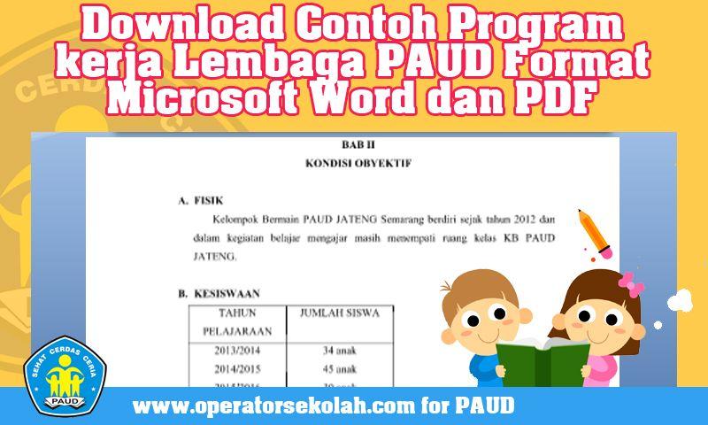 Download Contoh Program Kerja Lembaga Paud Format Microsoft Word