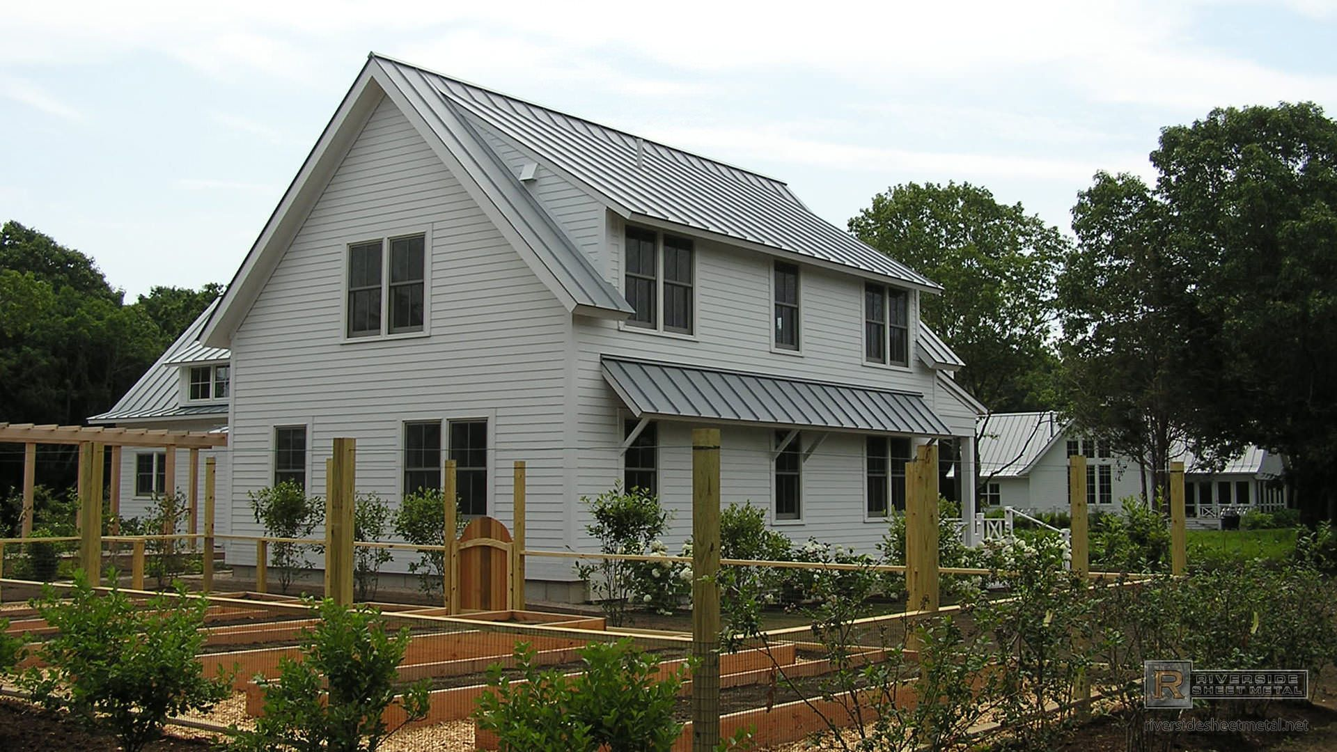 Different angles on a standing seam metal roof metal