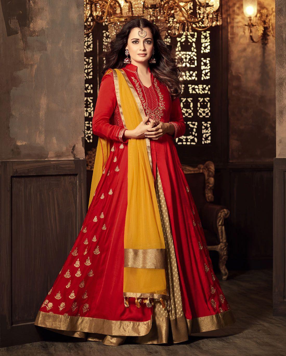 Dia Mirza Hot Red Lehenga Style Anarkali Dress Designer Lehenga Choli Designer Blouse Patterns Anarkali Dress