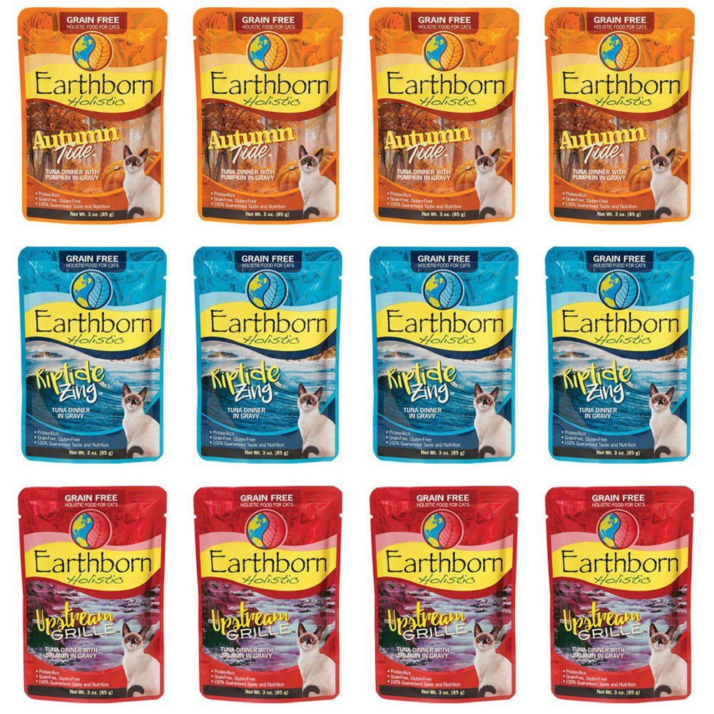 Earthborn Holistic Grain Free Wet Cat Food In Gravy Pouches 3 Ounces Each 3 Flavors Riptide Zing Autumn Tide And Upstre Food Canned Cat Food Grain Free