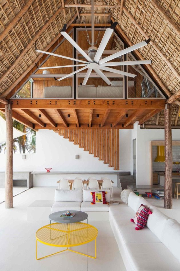 colorful tropical open residence with rough reduce thatched roof home design - Thatch Roof Designs