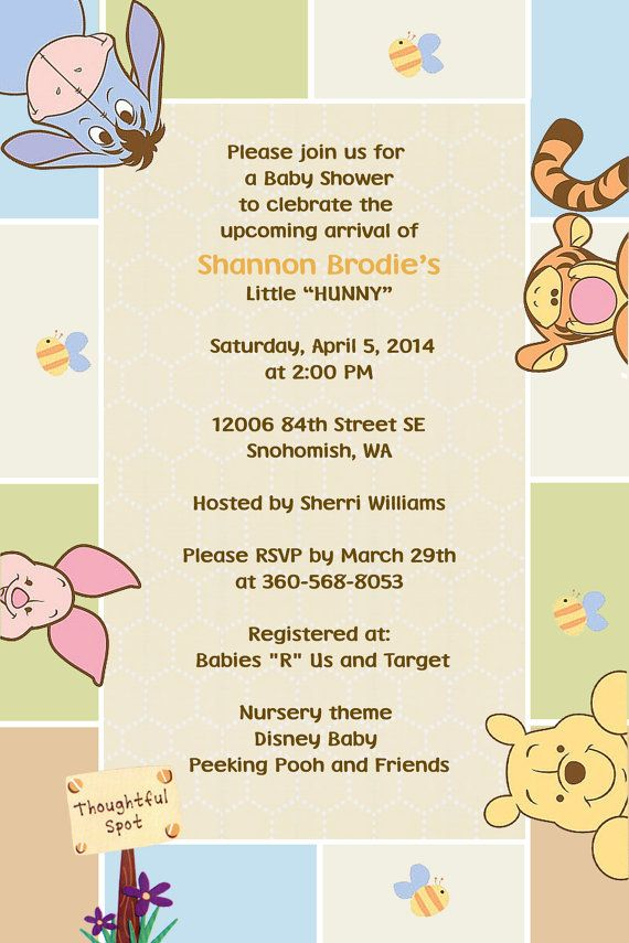 Winnie the Pooh Invitations Peeking Pooh Printed or Digital File on ...