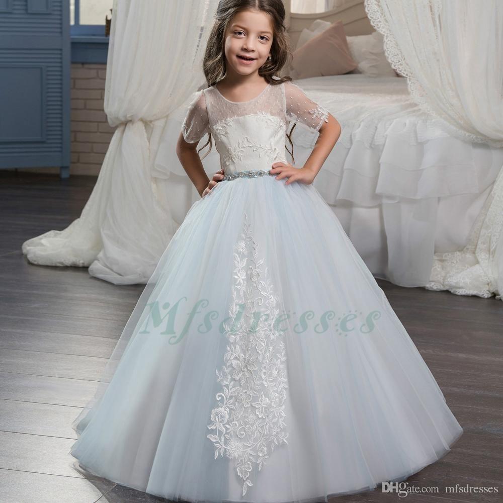 2017 New Princess Hot Blue Ivory Top Ball Gown Flower Girl Dress ...