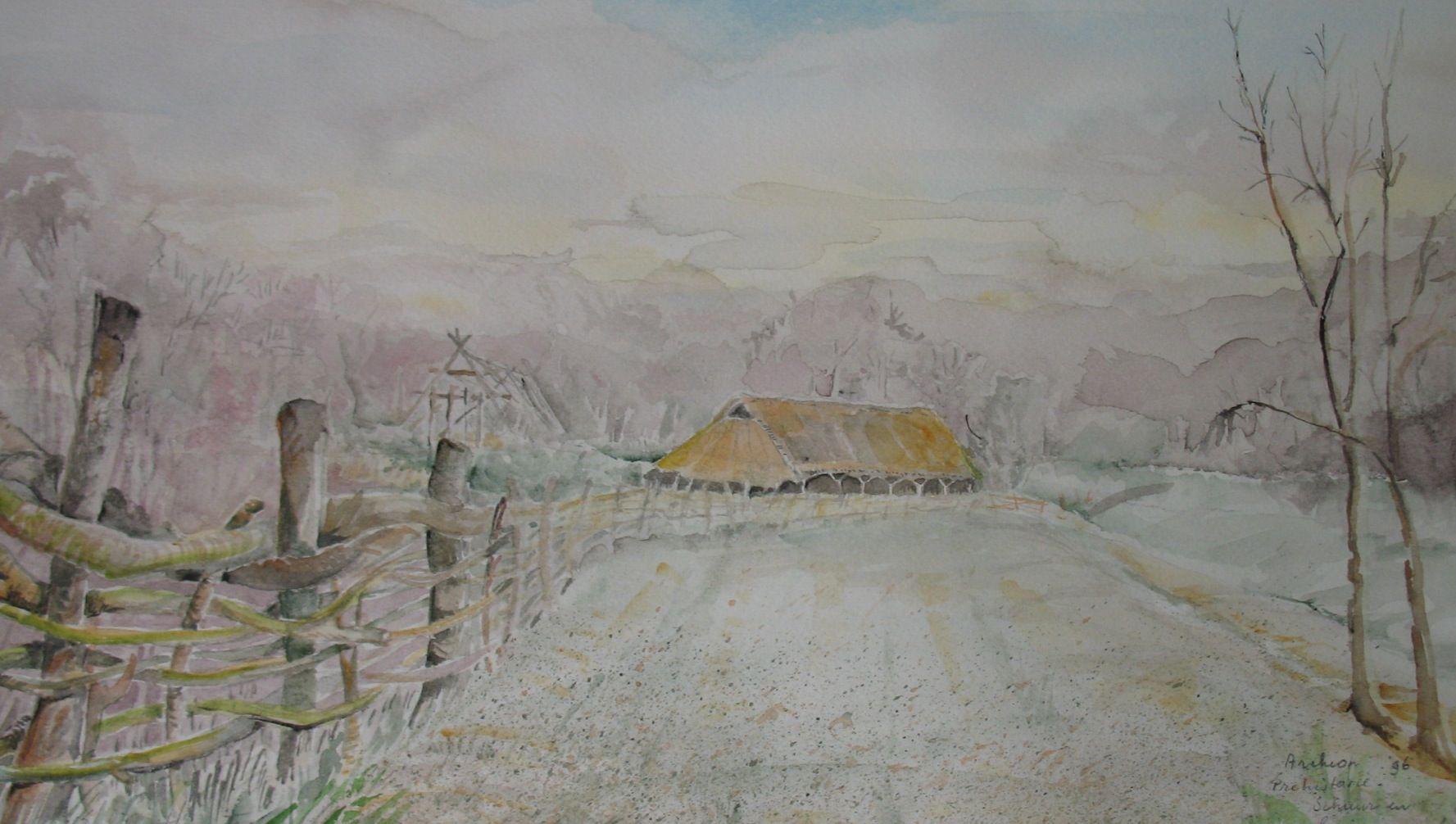Archeon, archeologisch themapark, boerderij- jagers en verzamelaars tijdperk ,- aquarel door T. Hiem.