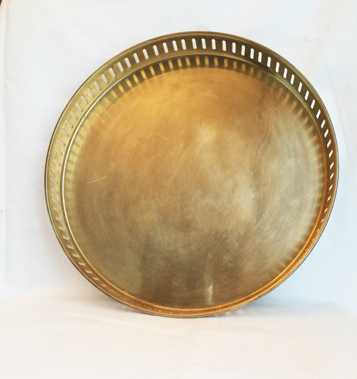 Vintage Br Tray Large Round Punched Edge