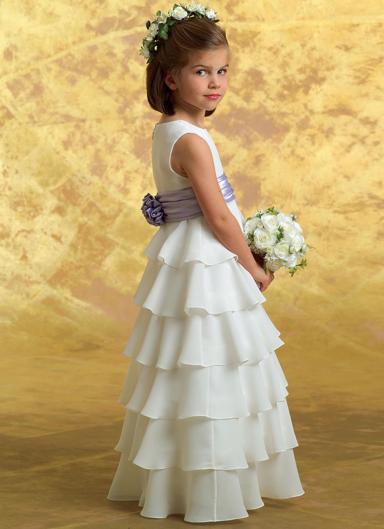 B4967 For Julia White Dress With Purple Sash Just Like The Picture