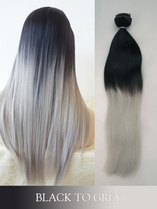 Pleasant Black To Grey Colored Clip In Human Hair Extensions Blogc08 Hairstyles For Men Maxibearus