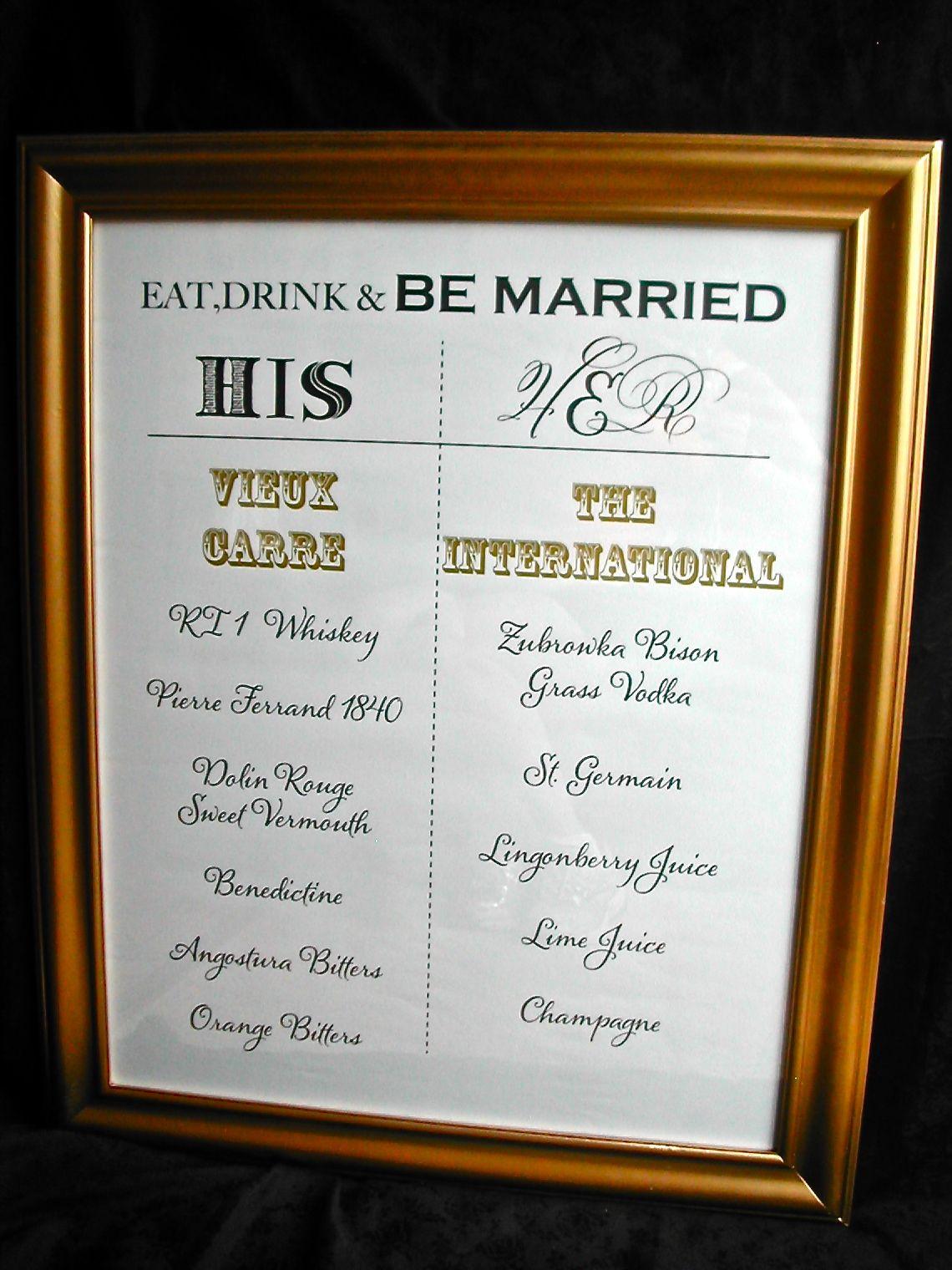 Diy Wedding Signature Tail Menu