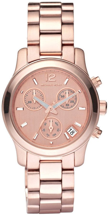 b563ea31e388 Michael Kors Women s Chronograph Mini Runway Rose Gold-Tone Stainless Steel  Bracelet Watch 33mm MK5430