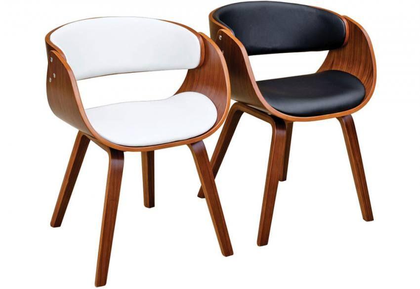 Febland brando dining chairs walnut effect formed - Walnut effect living room furniture ...