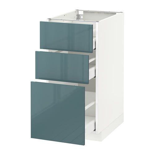 Best Metod Base Cabinet With 3 Drawers White Kallarp Grey 400 x 300