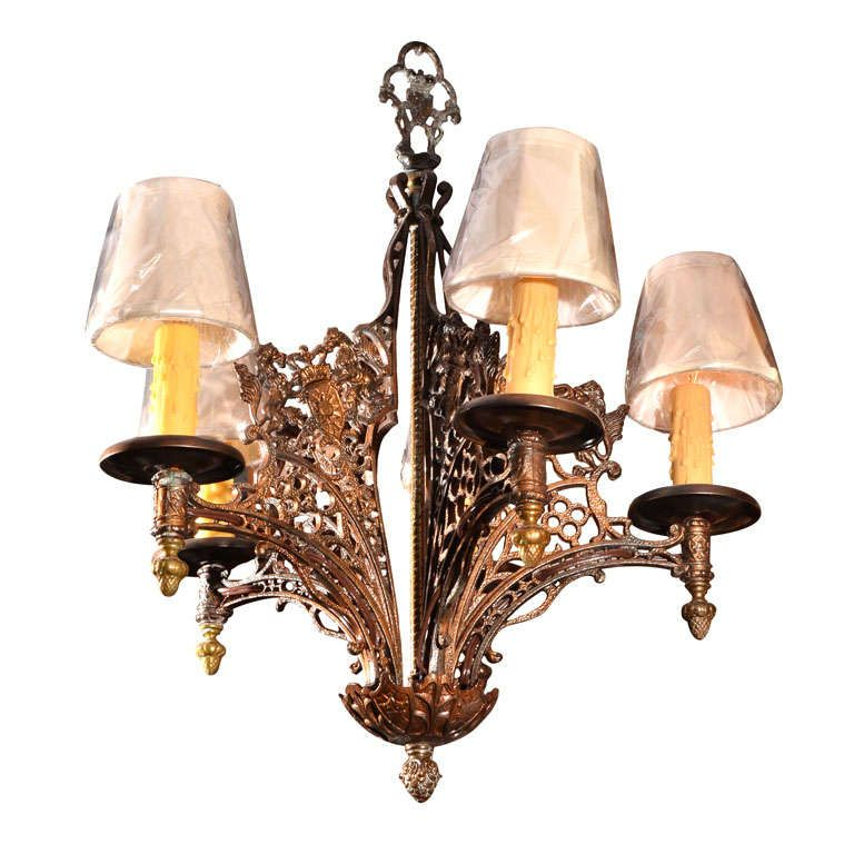 For On Old English Tudor Style Cast Iron Five Light Chandelier With A Dark Bronze Plated Finish Ornamentation Each Arm Of Are